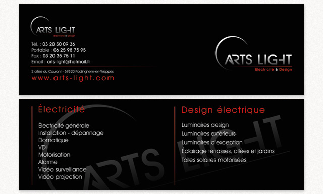 carte de visite Arts Light
